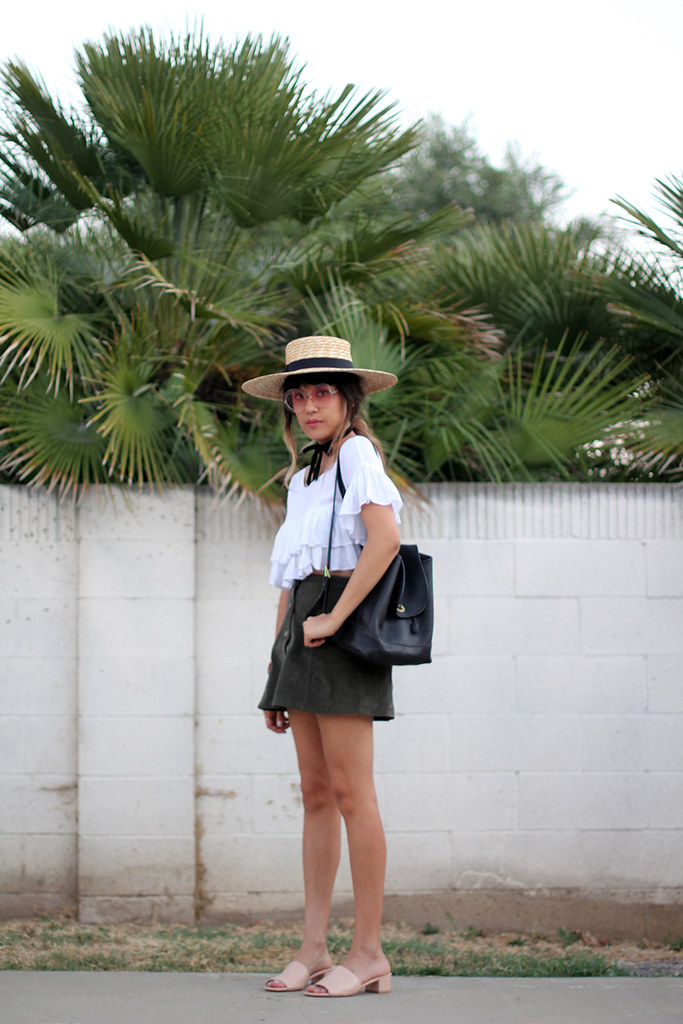 Lack of Color Wide Brim Spencer Boater Hat, BooHoo ruffle top, 2020 Ave corduroy A-line skirt olive, vintage leather Coach backpack, Maryam Nassir Zadeh Sophie slides, Shore Projects watch