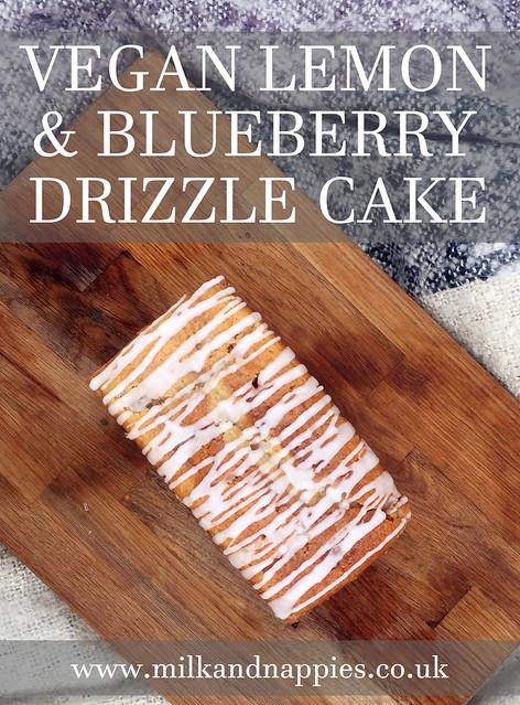 vegan lemon and blueberry drizzle cake