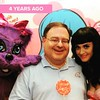 That night four years ago when I met this huge stuffed cat and some girl. She gave me a lollipop.