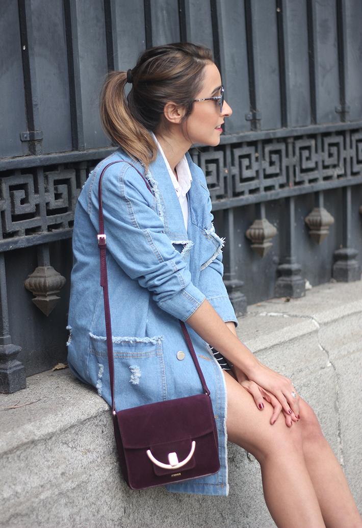 Denim Coat Stripes Skirt White Blouse Burgundy Uterqüe Bag Outfit21