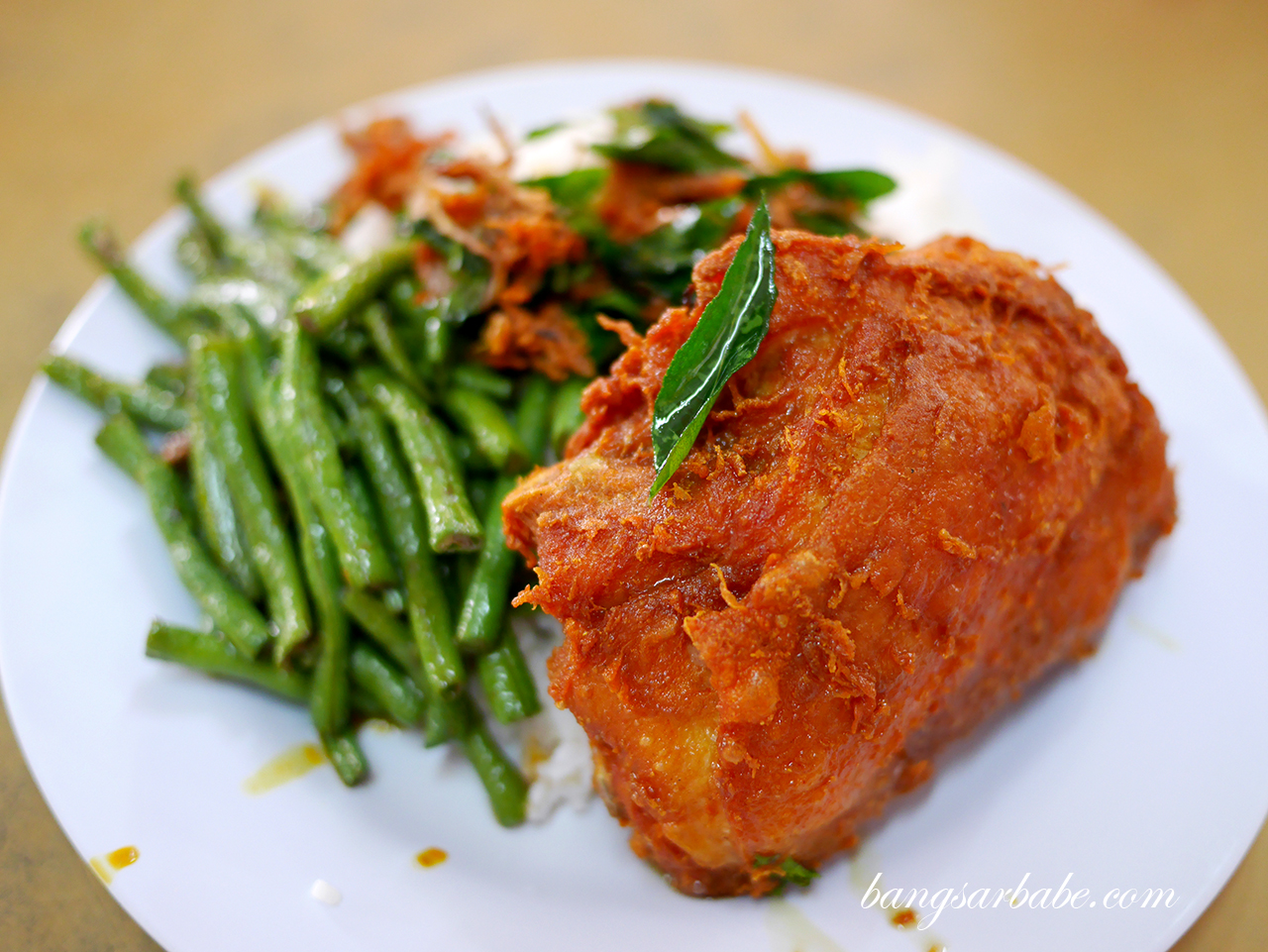 Fried chicken with long beans