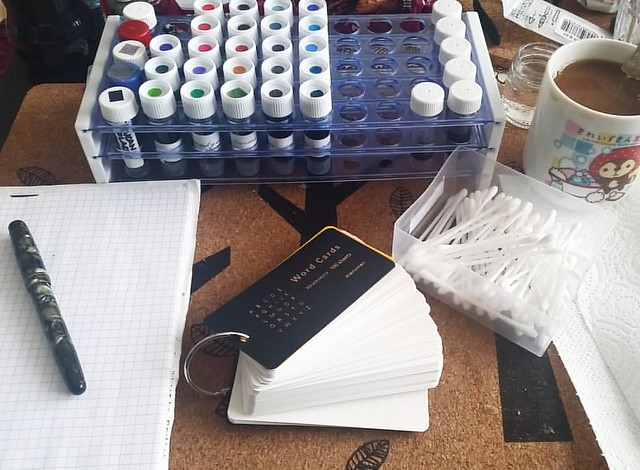 It's swabbing time! Going to re-swab every ink on the Mnemosyne word cards. #inkswabs #inkswabbing #fountainpenink #fpgeeks #inksampler #FPN #fountainpennetwork #inksamples #colorcoordination #colorcoding