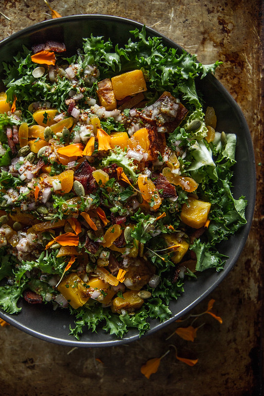 Escarole butternut squash, bacon and dried Apricot Salad