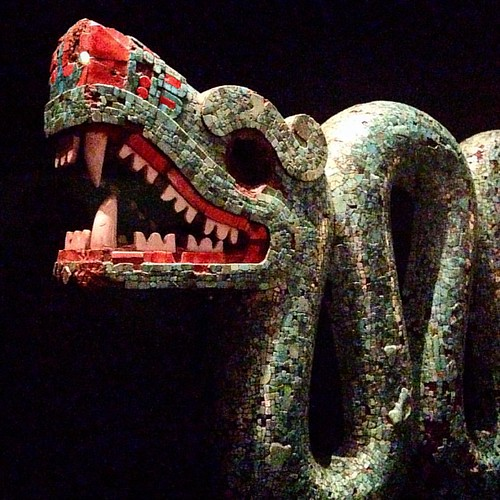 #Aztec, #Mixtec Turquoise mosaic double-headed #serpent  Am1893,-6.34 @britishmuseum