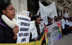 Protest in London against Commonwealth countries continuing to imprison LGBTI people and discriminate against them.