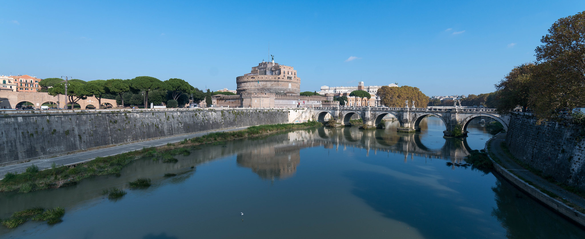The View towards Castel Sant Angelo Rome with reflections in the river