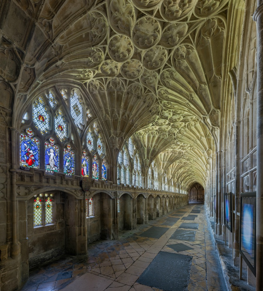 Gloucester Cathedral - Cloisters with fan vaulted roof was used as a location in the Harry Potter film series