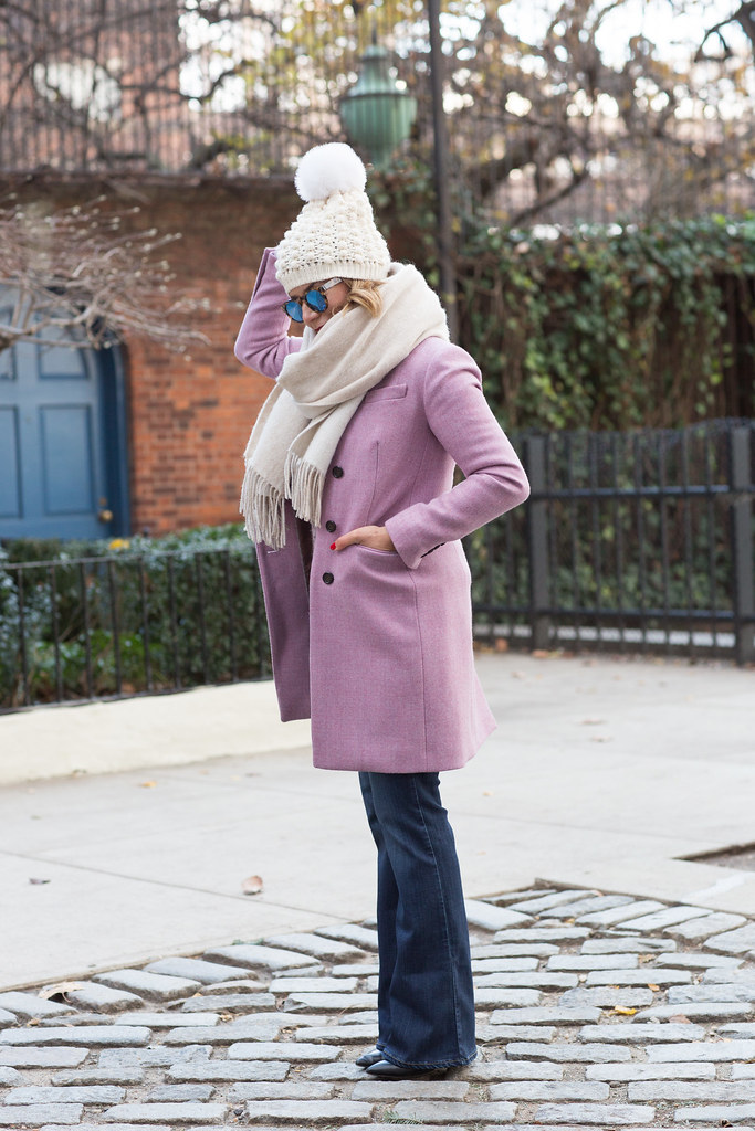 pink wool sweater j.crew coat wool coat club monaco sunglasses reflective paige denim sam edelman kate spade watch corporate catwalk casual weekend nyc look fashion bloggers in nyc
