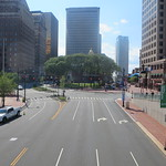 State Street headed to Connecticut`s Old State House in the capital city of Hartford, Connecticut USA