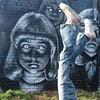 Loving some of the work in the #nomadiccommunitygardens atthe moment including this one from @_elfin_ @nomadic_community_gardens with some random upside down legs #Street #streetart #streetartlondon #streetarteverywhere #graffiti #urbanart #instagraffiti