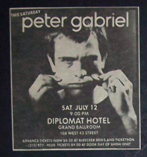 07/12/80 Peter Gabriel @ Hotel Diplomat, NYC, NY