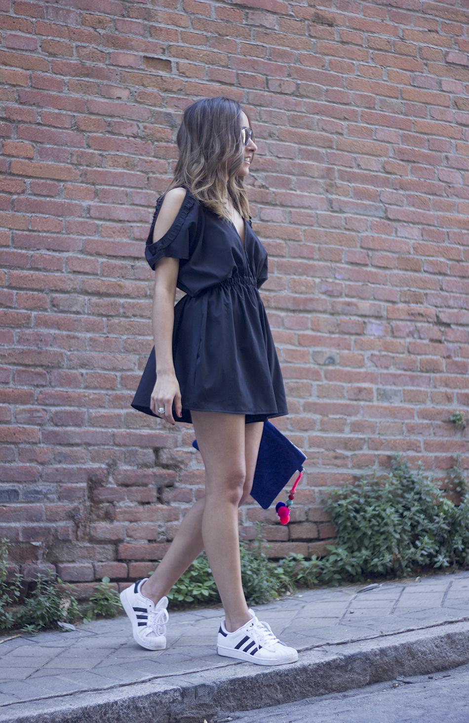 Black jumpsuit With Adidas Superstar