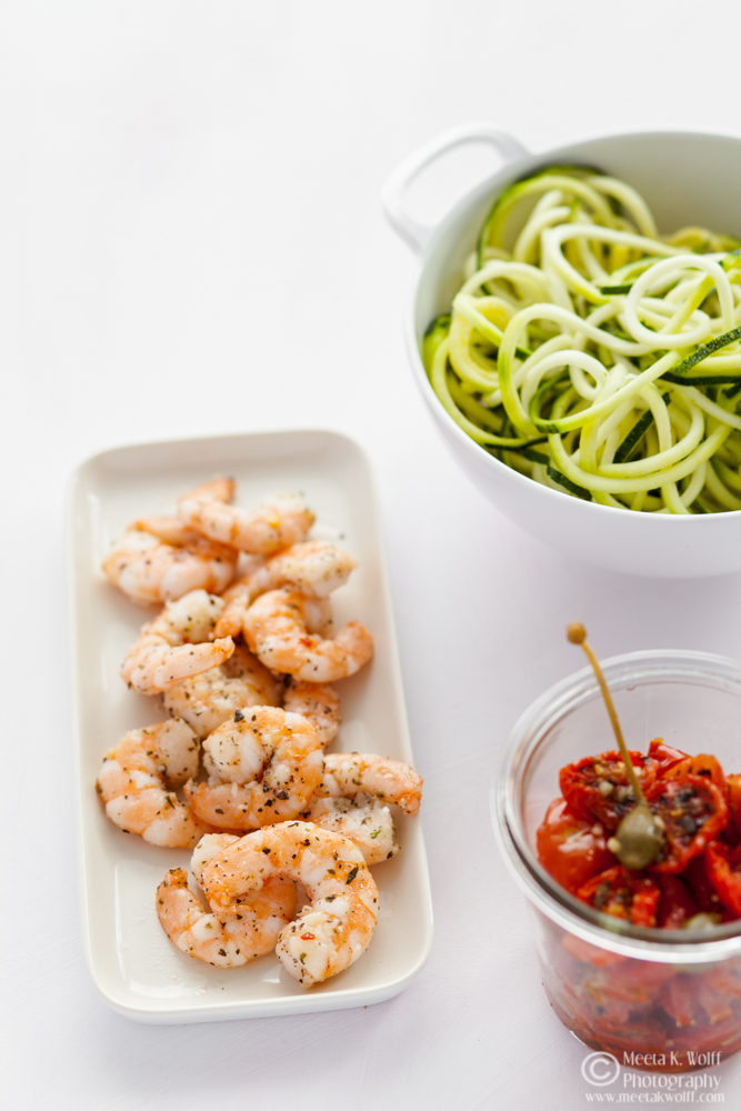 Zucchini Noodles Shrimp and Slow Roasted Tomato Sauce (0126) by Meeta K. Wolff