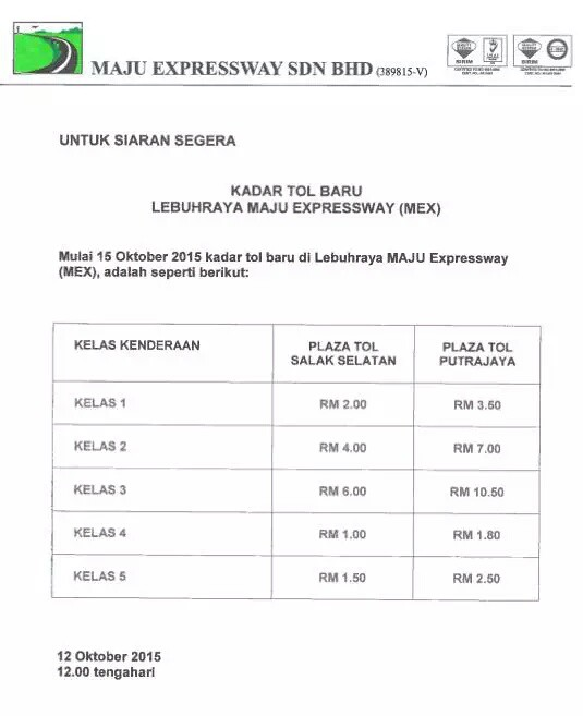 MEX highway new toll rates 2015
