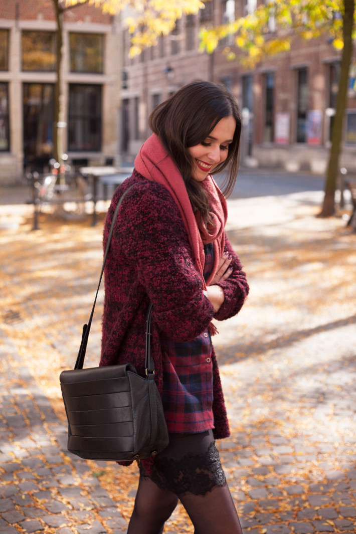 Outfit: burgundy plaid with lace slip skirt