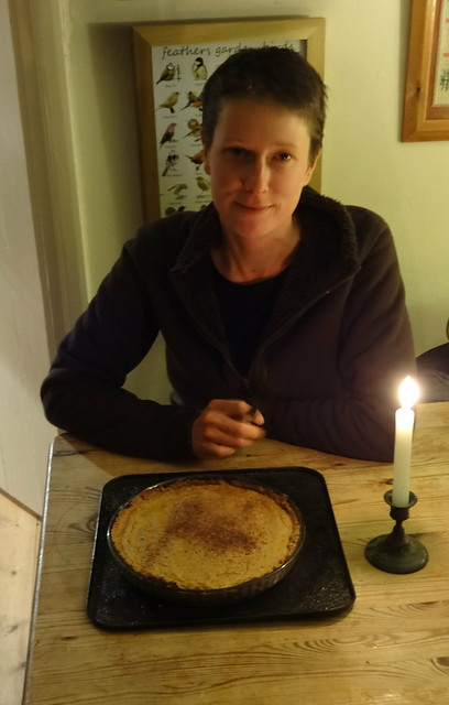 Home made Pumpkin Pie for late birthday celebration for Sara