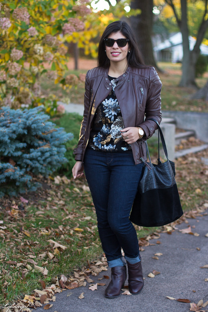 sequined sweater, brown leather jacket, jeans-5.jpg
