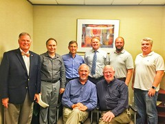 Greg Wallace, Ken Brown, Matthew Kane, Paul Stone, Mike Wienold, Ed Smallwood and guest Kelley Bassett were hosted by Richard Gantt at the Rosen Law Firm.