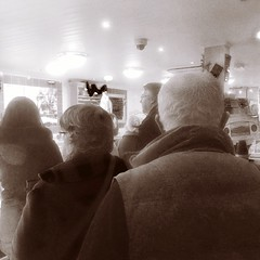 Waiting in line at Barry Fintch Butchers. All I want is a bit of cheese Little Eaton Derbyshire Christmas