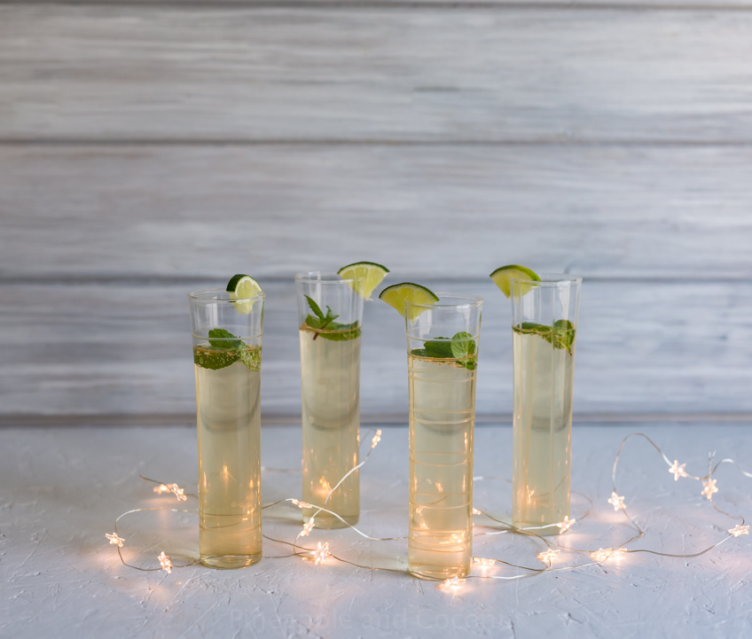 Vanilla Honey Ginger Mojito Champagne Cocktails www.pineappleandcoconut.com