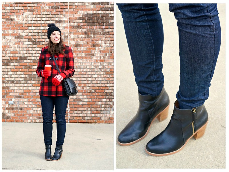 stripes and buffalo plaid print mixing; Style On Target; winter casual outfit