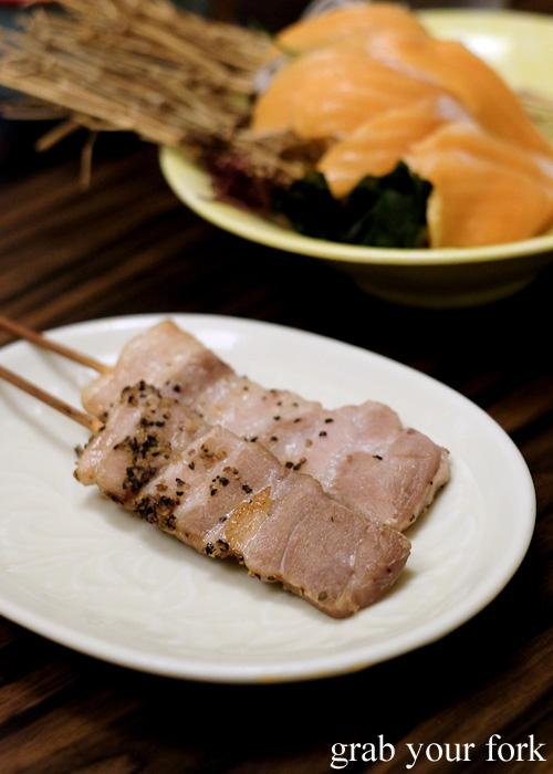 Pork belly skewers at Tsubohachi Izakaya in Hakodate, Hokkaido
