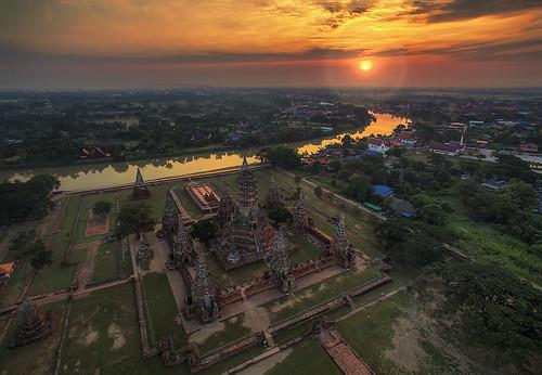 morning reflection monument water sunrise river thailand temple dawn wat aerialphotography ayutthaya drone ayudhya chaiwattanaram quadcopter djiphantom