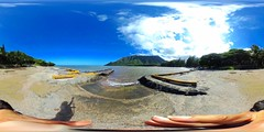 At the Launch Ramp at Kahana Bay in Ko'olauloa on the WIndward Coast of Oahu, Hawaii looking across Kahana Bay at the Mo`okapu o Häloa Ridge - A 360 degree Equirectangular VR