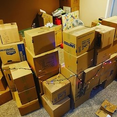 Moving boxes make a massive cardboard fort 295/365 #intrudersbeware #fortressofdoom #fort #project365 #365 FYI, this fort's small crawl-through entrance makes it 'old people proof' #12yearolds #oy