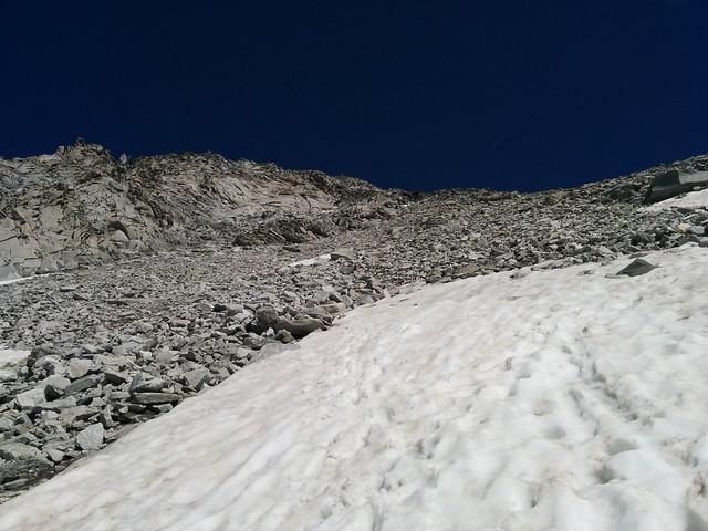Der steile Aufstieg zum Möseler-Sattel