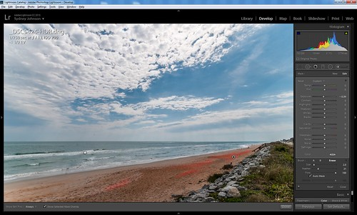 Screenshot of Burning in Lightroom using the Adjustment Brush
