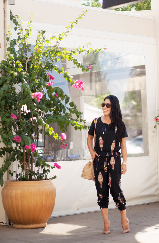 cute & little blog | petite fashion | black peplum character print jumpsuit, bucket bag, louboutin so kate nude pumps | fall outfit