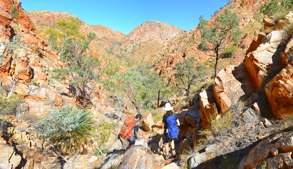 Descending from the Chewings Range - Larapinta Trail