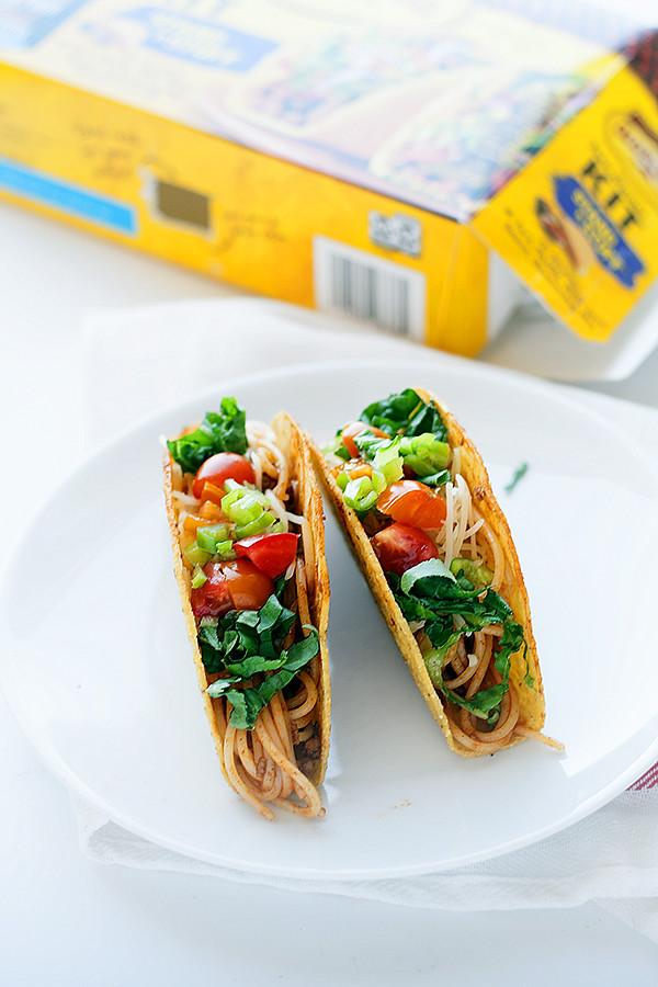 mexican spaghetti tacos