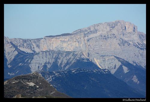 Zoom sur le Mont Aiguille et le Grand Veymont (Vercors)