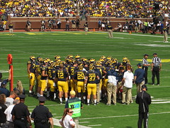 Michigan Huddle, BYU Cougars vs. Michigan Wolverines, Michigan Stadium, University of Michigan, Ann Arbor, Michigan