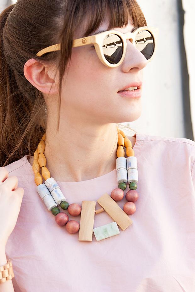 Panda Sunglasses, History and Industry, Handmade Necklace, Pink Tee, Everlane