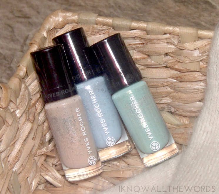 Yves Rocher Holiday 2015 Botanical Colour Nail Polish Frosted Pink Champagne, Frosted Blue, and Frosted Green (1)