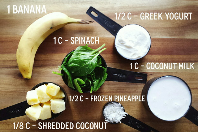 greek yogurt 52 ways: # 28 tropical, green smoothie