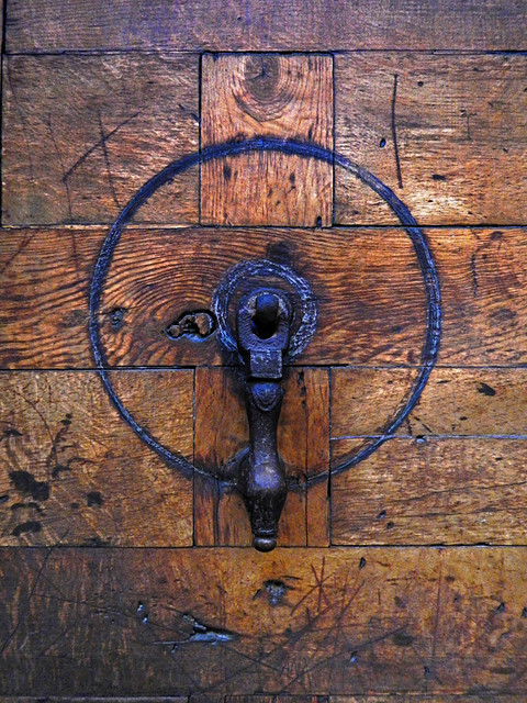 Spanish Wooden Door with Metal Doorknocker (Segovia)