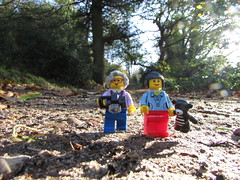 Lego Me and Lego Em enjoying a woodland walk in the Sunshine