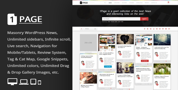 1Page v3.3 – Masonry WordPress News / interesting links