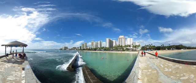 A Panoramic View  from the Waikiki Wall at Kuhio Beach
