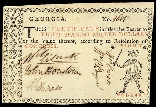 Georgia 1776 Eight Dollars