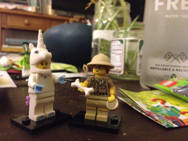 8:36pm: today I finally got to go to the LEGO store with @anyharder & I got some mystery minifigs & omg unicorn & science woman