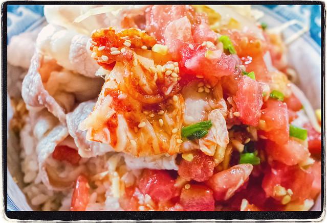 『角切りトマトと生姜の冷やし豚しゃぶ丼』(クローズアップ)