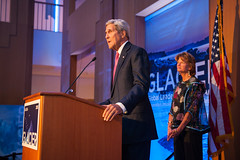 Secretary Kerry, joined by U.S. Senator for Alaska Lisa Murkowski, discusses the effects of Arctic climate change at the Welcoming Reception for the Global Leadership in the Arctic: Cooperation, Innovation, Engagement, and Resilience (GLACIER) Conference, at the Anchorage Museum, in Anchorage, Alaska, on August 30, 2015. [State Department Photo / Public Domain]