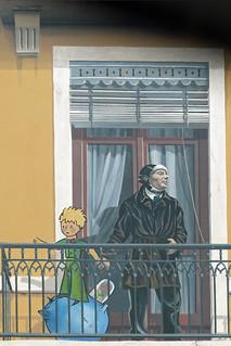 Obrázek Le Petit Prince et Saint-Exupery. france frankreich lyon antoinedesaintexupéry lepetitprince trompelœil fresken dierkschaefer berühmtelyonerpersönlichkeiten départementmétropoledelyon