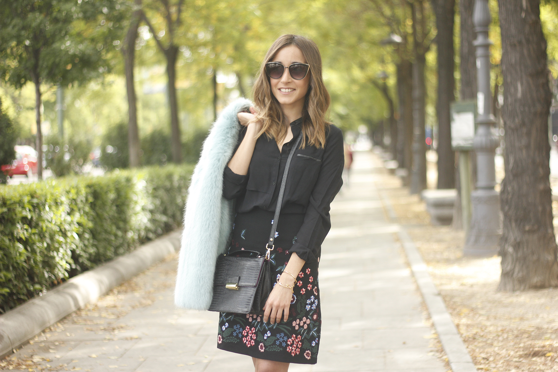black skirt with flowers outfit15