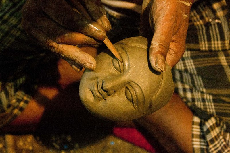 Making of Goddess Durga - at Kumortuli, Kolkata, India